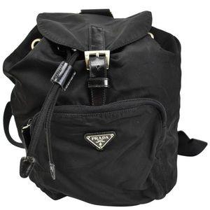 Authentic Prada Black Vela Medium Backpack